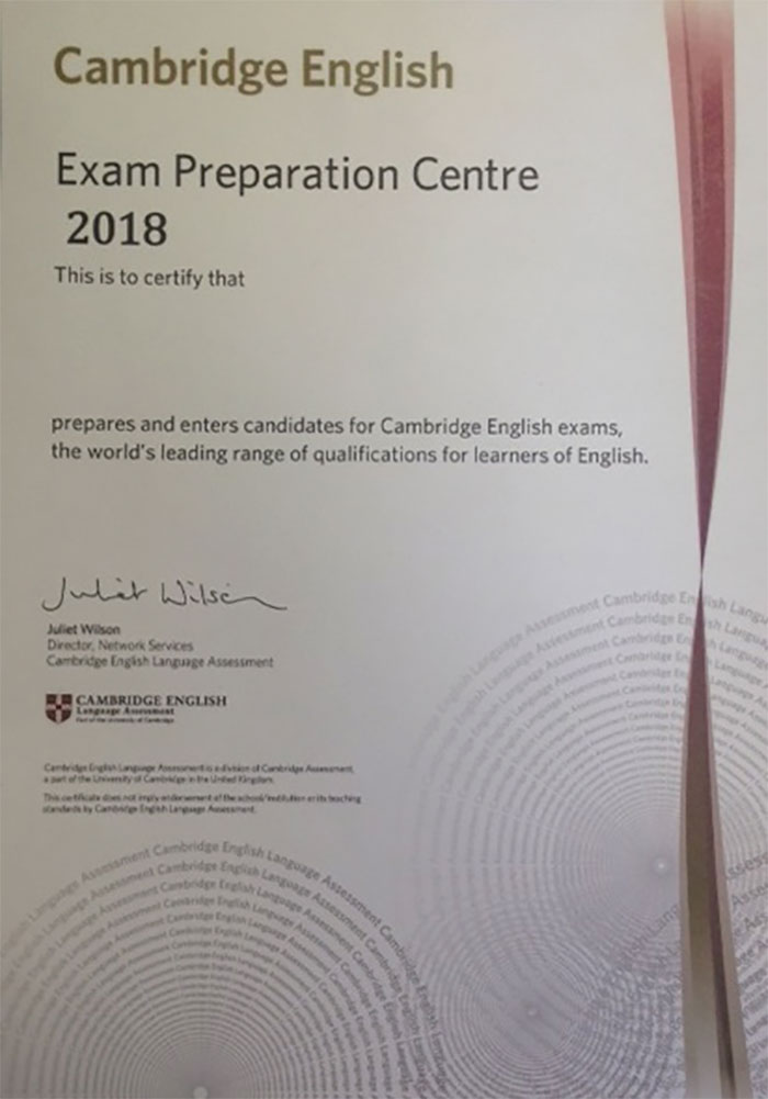 Cambridge English Exam Preparation Centre 2018